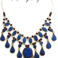 Blue Lapis Lazuli necklace in silver metal and wood. Bib necklace.