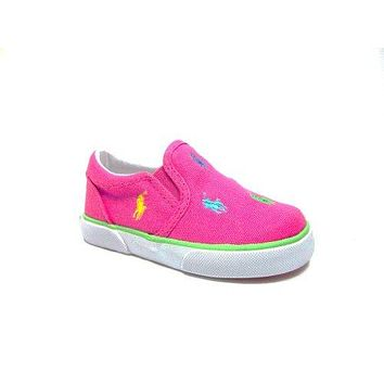 Ralph Lauren Polo Toddler Kids Girls Bal Harbour Canvas Shoes