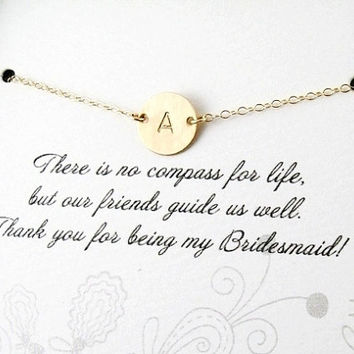 Bridesmaid thank you card and Initial Necklace,GOLD FILL Monogram Necklace, Bridesmaid Jewelry, Greeting card