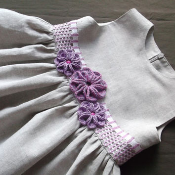 Rustic flower girl dress Baby first birthday party outfit Eco friendly gray linen cotton blend Purple crochet flower lace