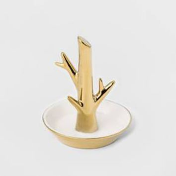 Women's s Ceramic Tree Trinket Tray - Charlotte Gold