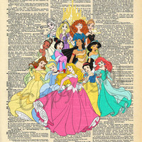 Disney Princesses Dictionary Art Print