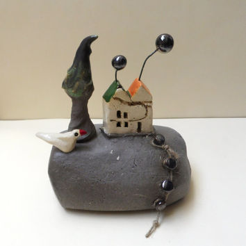 Ceramic sculpture / ceramic and pottery handmade sculpture of miniature beach house , tree , ceramic bird / rustic