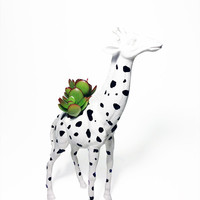 Up-cycled White Giraffe Planter