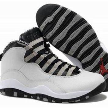 Cheap Air Jordan 10 X Retro Grey Black White Shoes