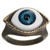 Blue Realistic Evil Eye Iris Pupil Fashion Ring