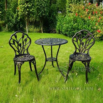 3 piece of Aluminum Bistro Set In Antique Copper chairs and table for Garden