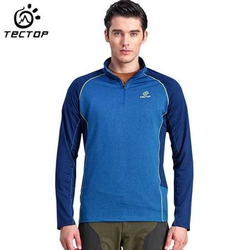 TECTOP Men's Sport T-Shirt Long Sleeves Quick Dry Outdoor Camping Hunting Shirts Male Sportswear Hiking Fishing Shirt HMD0365-5