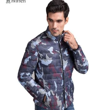 Hoffen brand-clothing men's winter jackets stand collar camouflage mens white duck down jacket fitness casual outwear overcoats