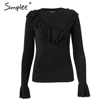 Ruffle Designed Slim Fit Long-sleeve Pullover Sweater