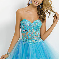 Short Strapless Dress with Corset Bodice
