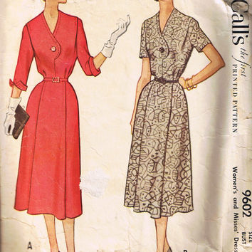 1950s Vintage Sewing Pattern, Women's Day Dress, McCall's 9602