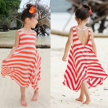 Baby Girls Kids Bohemian Stripes One-piece Mid-Calf Skirt Beach Dress