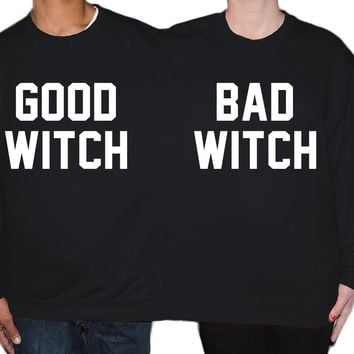 Good With Bad Witch Group Costume Two Person Halloween Sweater