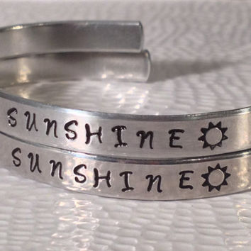 You Are My Sunshine My Only Sunshine - Aluminium Cuff Bracelet - Set of Two - Family Gift