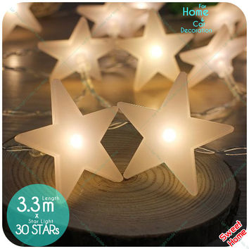 30Led Shining Star Holiday Fairy String Lights Led Plastic Star Light for Garden Christmas Wedding Party Decoration Lighting