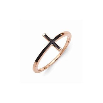 Sterling Silver Rose Gold-plated Antiqued Sideways Cross Ring , Size: 6
