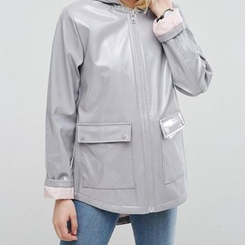 ASOS High Shine Rain Mac With Contrast Lining at asos.com