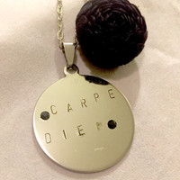 Carpe Diem inspiration hand stamped pendant necklace and flower.