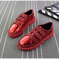 Sneakers Women Flats red Black Silver Shoes Rhinestone Bling Shoes