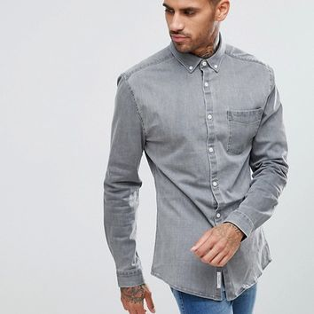 River Island Muscle Fit Denim Shirt In Grey at asos.com