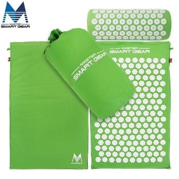 Yoga Mat Acupressure Mat and Pillow Set Back Body Massage Relieve Stress Tension Pain for Acupressure Massage & Relaxation Green