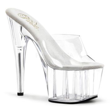 Clear Platform Slide Sandals 7 Inch Heels-Clear Fitness- Competition Shoes