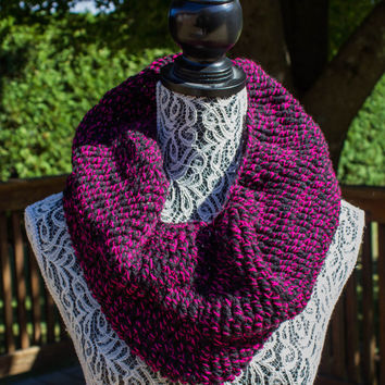 Crocheted Black and Pink Infinity Scarf