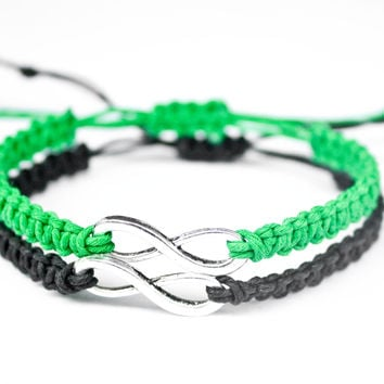 Infinity Friendship or Couples Bracelets Green and Black