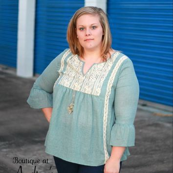 Tassels n Lace Plus Dusty Blue top with Lace Detail