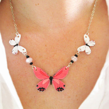 Pink Butterfly Necklace Spring Summer Jewelry by whatanovelidea