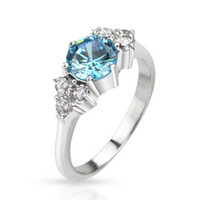 Spikes Stainless Steel Sea Blue CZ Prong Set Band Ring | Body Candy Body Jewelry