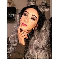 BLACK TO GREY OMBRE WAVY SYNTHETIC LACE FRONT WIG