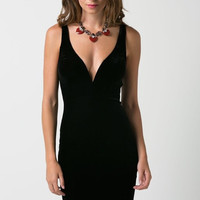 Velvet Deep V-Neck Fitted Dress - Black