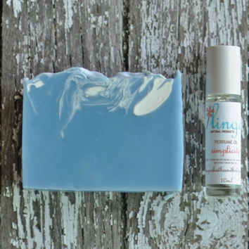 Simplicity Vegan Soap and Perfume Oil Gift Set -Lavender and Patchouli Essential Oils