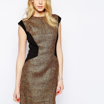 Forever Unique Goldie Paneled Dress - Gold
