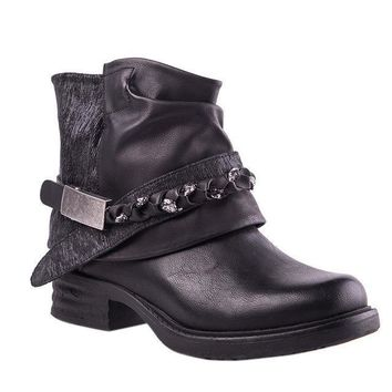 Western Boots: Round Toe Leather Chain Metal Ankle Boots