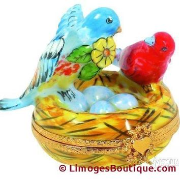 Two Birds In Nest Limoges Boxes