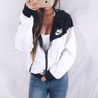"""NIKE"" winter fashion hooded cardigan sweatshirt jacket windbreaker sportswear F"