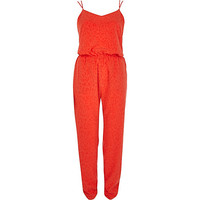 River Island Womens Orange animal jacquard cami jumpsuit
