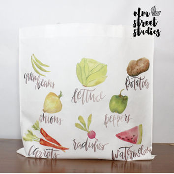 Watercolor Vegetables  Lightweight Tote  Reusable Tote Bag Travel Tote