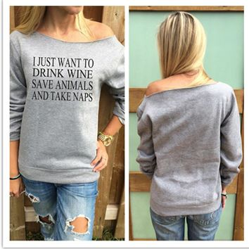 printing Loose Off Shoulder Sweater