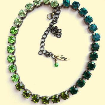 Green Ombre Swarovski crystal choker, 8mm, not sabika but just as sparkly, GREAT PRICE