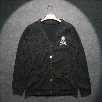 Silver Skull Embroidery Mens Fashion Designer Cardigan Sweater Japan Style V-Neck Long Sleeve Knitted Sweaters Free Shipping