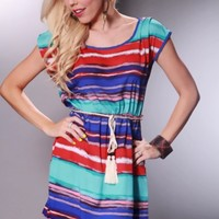 Red Stripe Short Sleeves Casual Dress