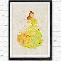 Belle Watercolor Art Print, Disney Princess Poster, Wall Decor, Gift Idea, Nursey Room, Home Wall Art, Not Framed, Buy 2 Get 1 Free!