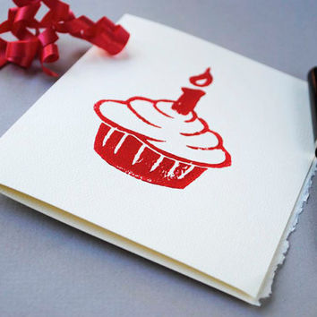 Red Cupcake Birthday Card - Cake and Candle Notecard
