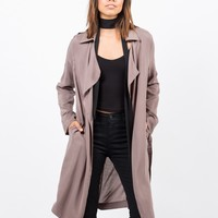 Belted Crepe Trench Jacket