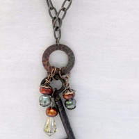 Boho Gypsy Skeleton Key Necklace Beads Pearls Brass