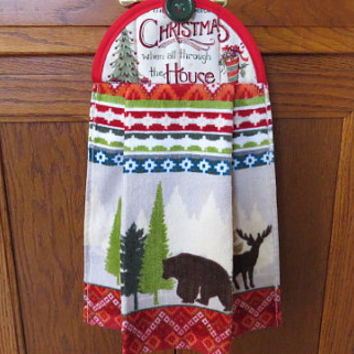 Christmas Kitchen Towel, Holiday Dish Towel, Hanging Kitchen Towel, Hanging Dish Towel, Tie Towel